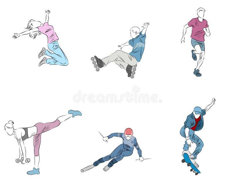 Sex tonåringuppsättning royaltyfri illustrationer