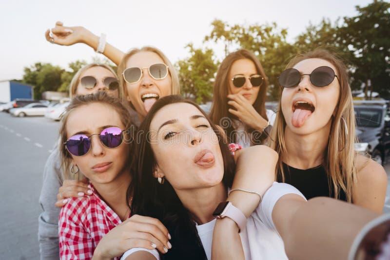 Sex unga h?rliga flickor som ser kameran och tar en selfie royaltyfria bilder