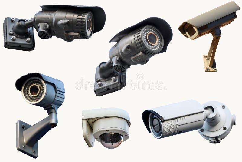 Sex utomhus- CCTV-kameror bakgrund isolerad white royaltyfri bild
