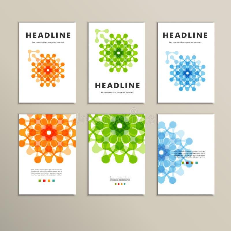 Sex vektormodell med abstrakt begrepp figurerar broschyrer royaltyfri illustrationer