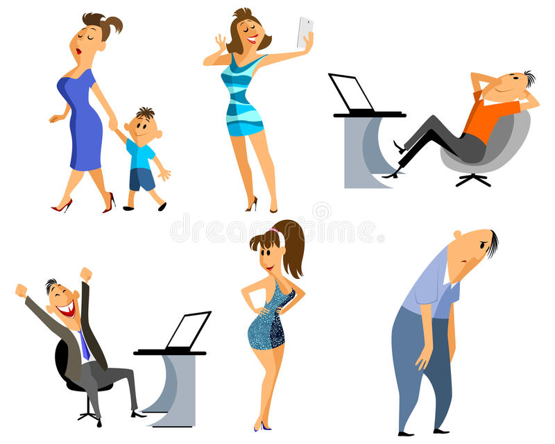 Sex yrkepersoner stock illustrationer