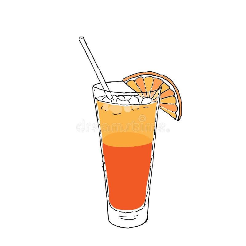 Sexe sur la couleur Digital de cocktail de plage dessinant l'illustration de vecteur Verre sur le fond d'isolement blanc illustration de vecteur