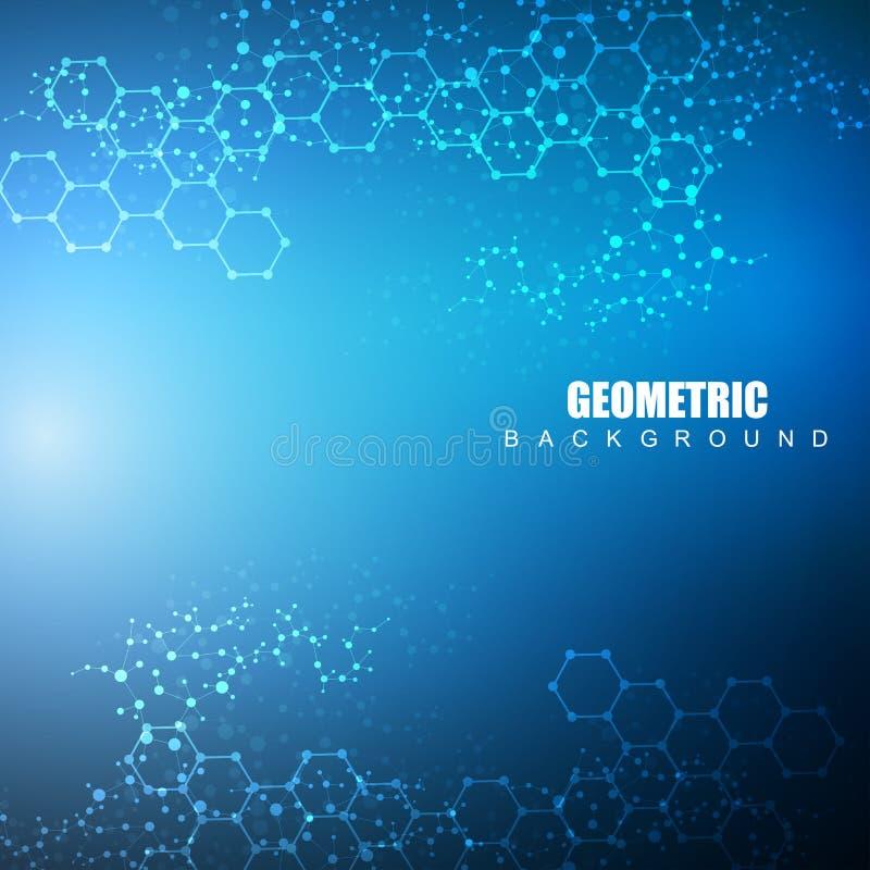 sexhörnig abstrakt bakgrund Stor datavisualization Anslutning för globalt nätverk Läkarundersökning teknologi, vetenskap vektor illustrationer