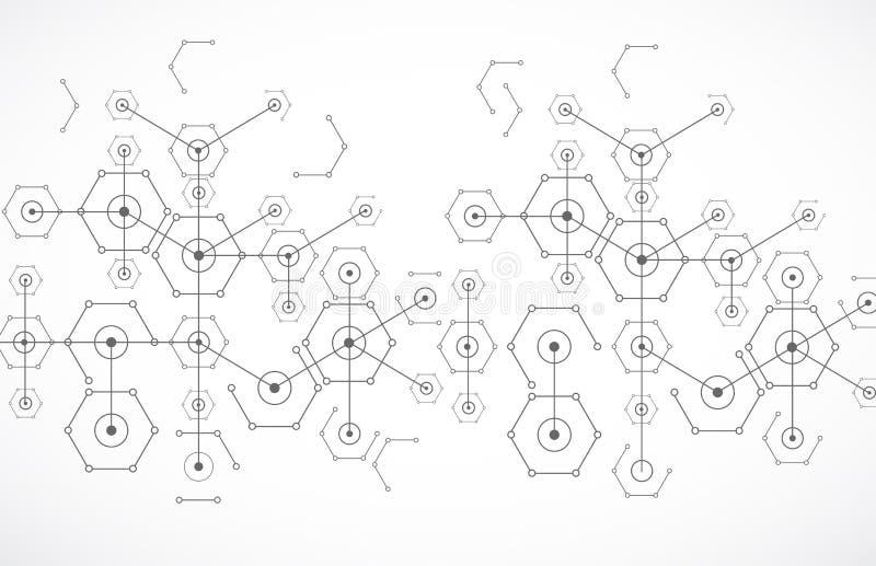 Sexhörnig bakgrund för abstrakt vit ljus teknologi stock illustrationer