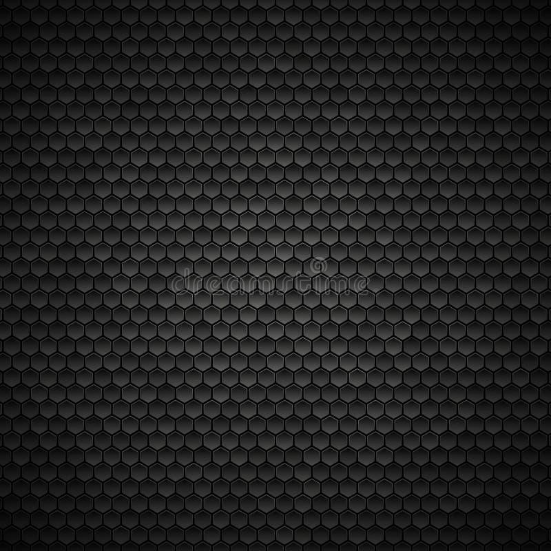 Sexhörnig bakgrund, mörk metallisk textur royaltyfri illustrationer