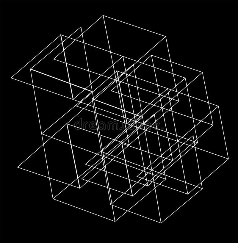 Sexhörnig geometrisk bakgrund för abstrakt triangel vektor illustrationer