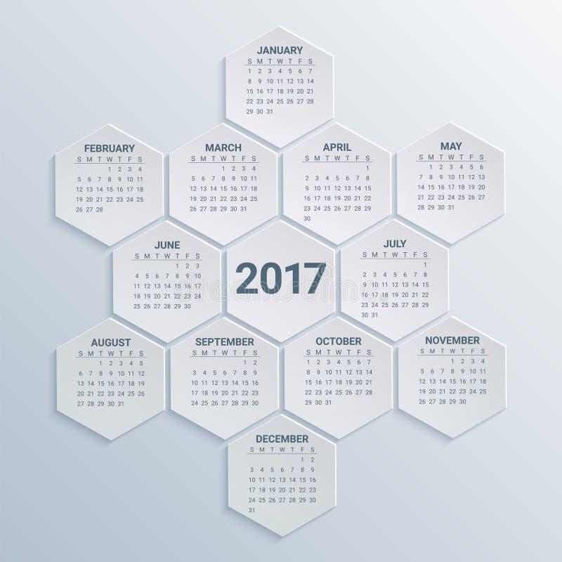Sexhörnig kalender för 2017 år på pappers- bakgrund Veckan startar från söndag Ferievektorillustration stock illustrationer