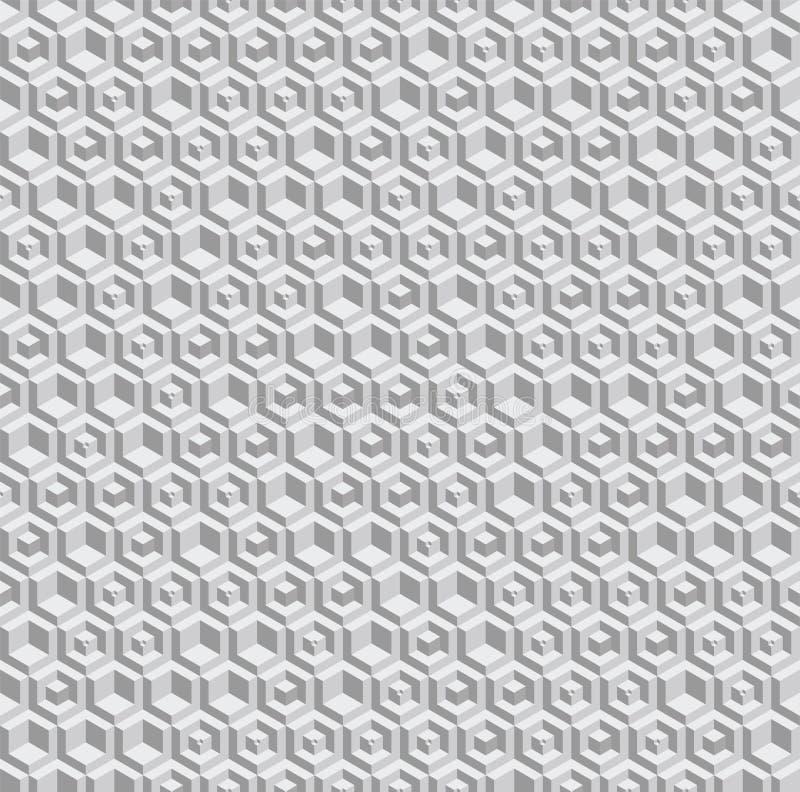 Sexhörnig sömlös vektormodell för gråton Volymetriska sexhörningsbeståndsdelar som på måfå förläggas stock illustrationer