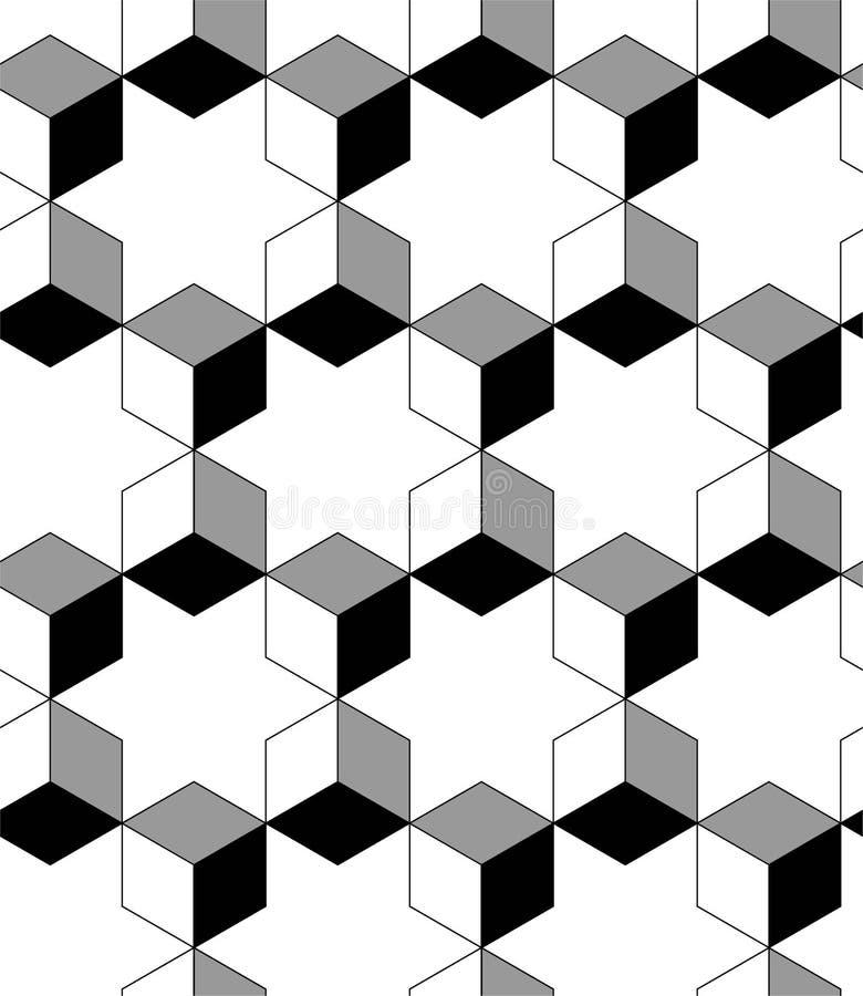 Sexhörnig sömlös vektormodell TEXTUR FÖR BESTÅNDSDELAR FÖR KUB FÖR ÖVERSIKTSSPALJÉ GEOMTERIC MONOKROM MODERIKTIG BAKGRUND vektor illustrationer