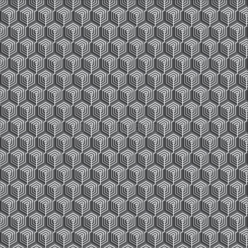 Sexhörnig spiral formmodellbakgrund eller mall royaltyfri illustrationer