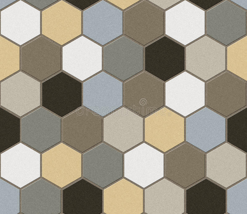 Sexhörniga tegelplattor patchwork seamless textur royaltyfri bild