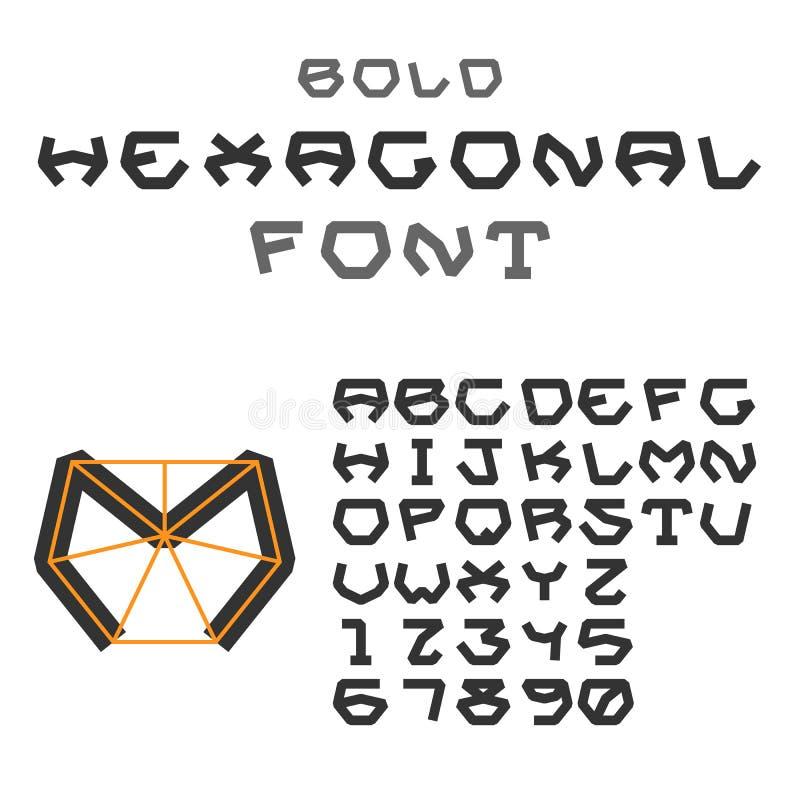 Sexhörnigt abc Geometrisk stilsort Bokstäver och siffror fetare vektor illustrationer