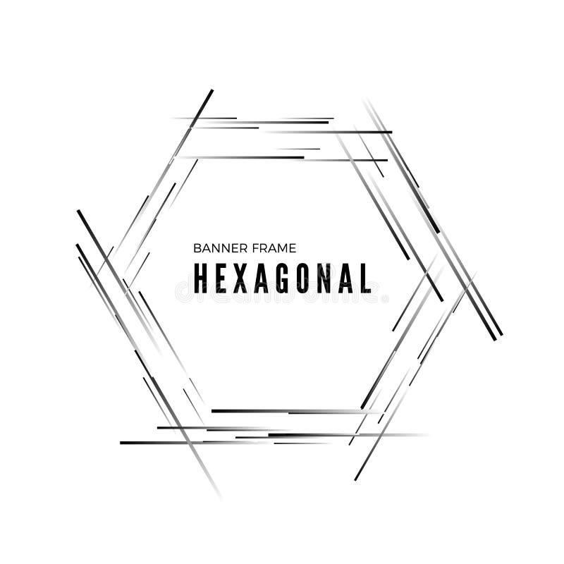 Sexhörnigt abstrakt modernt baner Geometrisk formram Vektorillustration som isoleras p? vit bakgrund stock illustrationer