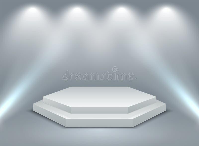 Sexhörnigt upplyst podium två-etapp 3D podium, sockel eller plattform med strålkastarebelysning ocks? vektor f?r coreldrawillustr vektor illustrationer