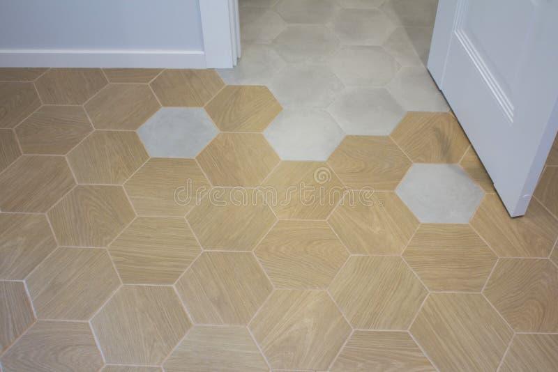 Sexhörning för keramisk tegelplatta för golv arkivbilder