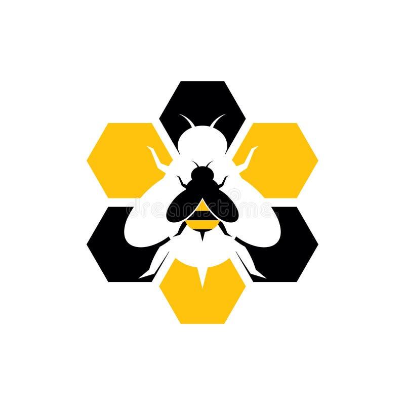 Sexhörning söta Honey Bee Hive Logo Icon stock illustrationer