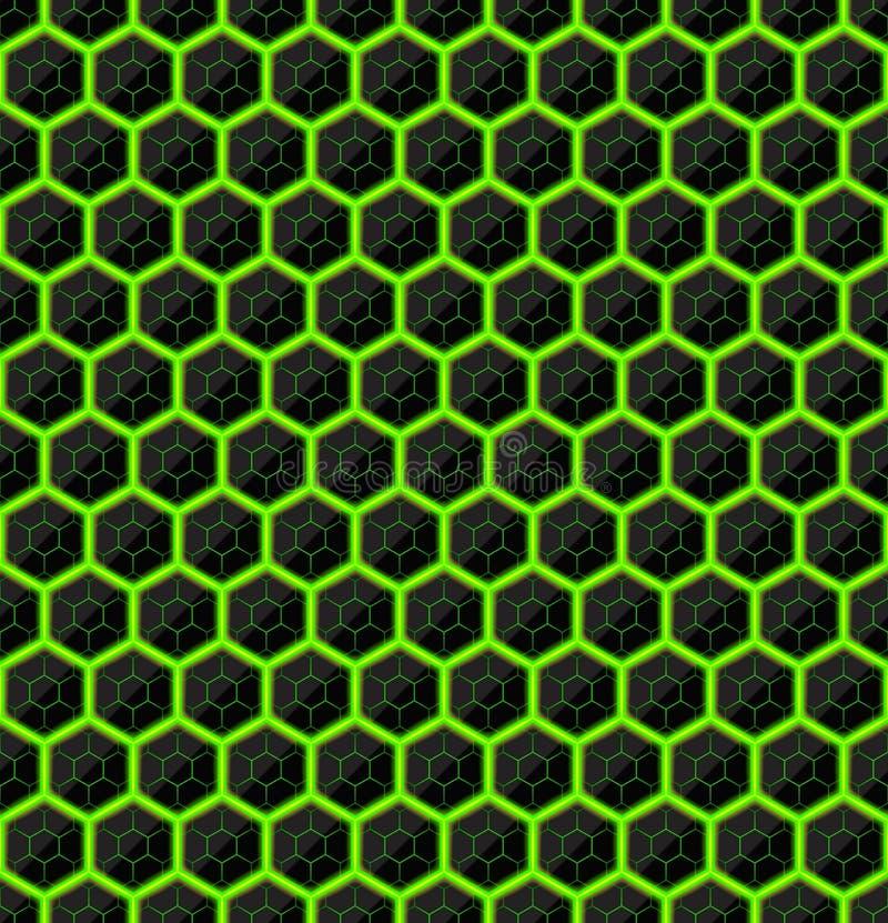 Sexhörningar av den svarta stenen med gröna strimmor av energi seamless texturvektor seamless teknologi för modell Geometriskt mö vektor illustrationer