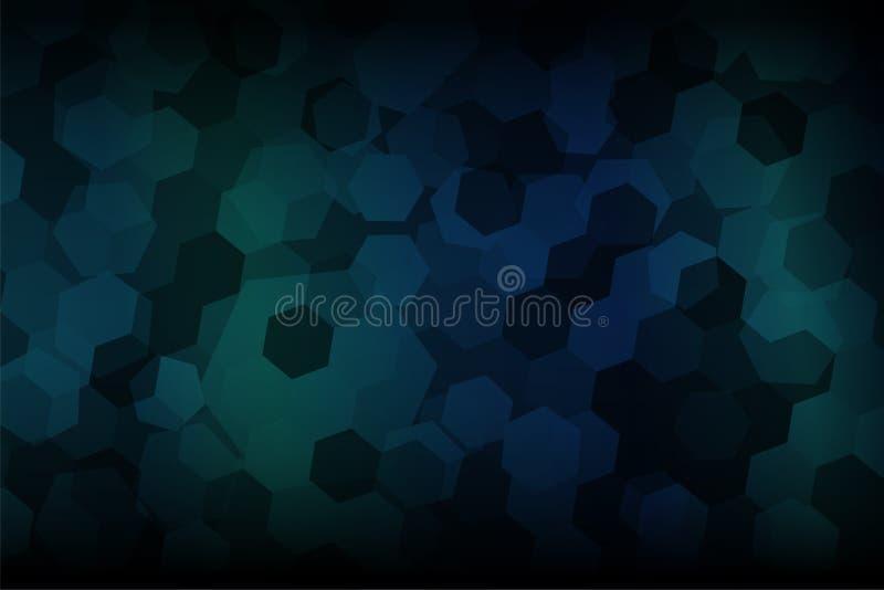Sexhörningsformabstrakt begrepp med mörker - blått och mörker - grön lutningbakgrund vektor illustrationer