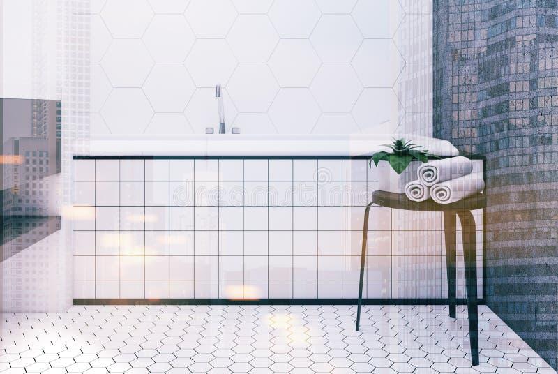 Sexhörningstegelplattabadrummet, badar tätt upp tonat stock illustrationer