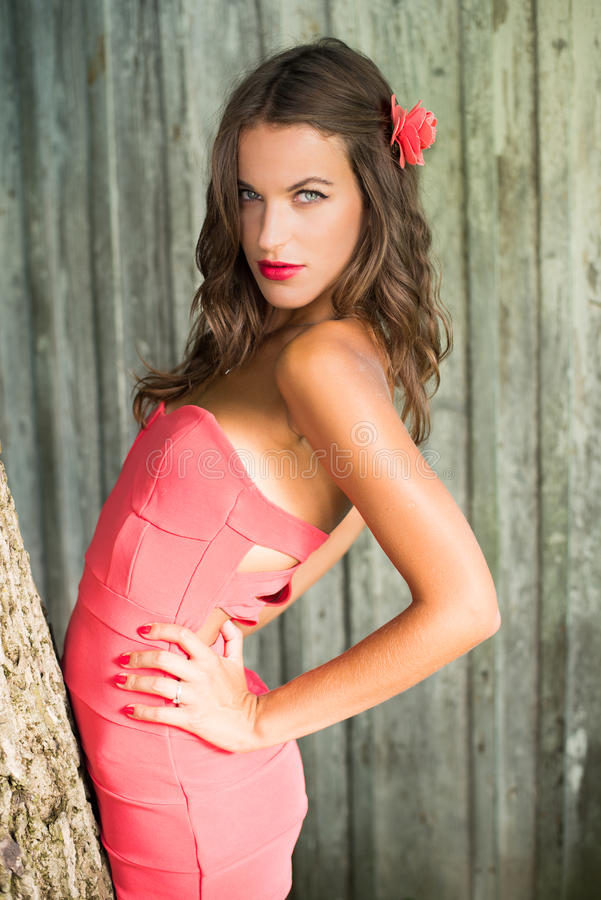sexi beautiful young lady in red over grey stock image - image of