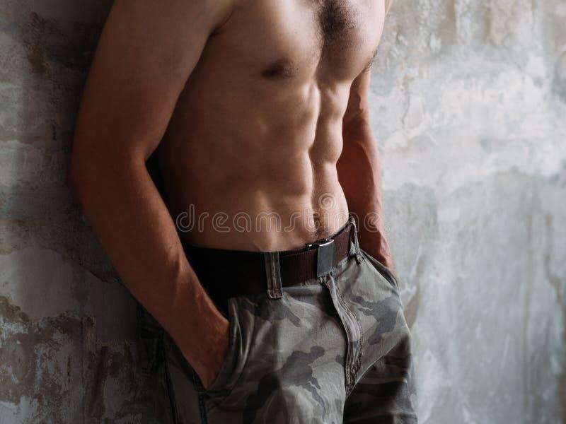 Sexig abs tränga sig in den manliga torson sex utbildande passform för packe royaltyfri fotografi
