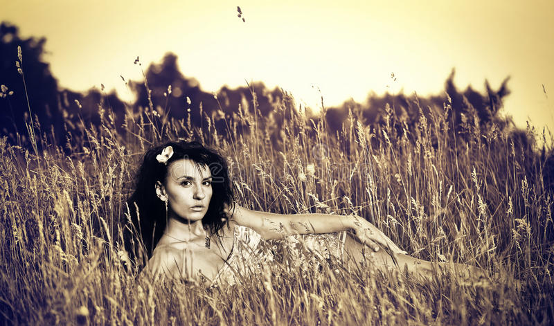 Download Sexig brunet arkivfoto. Bild av sikt, klänning, mänskligt - 19776650