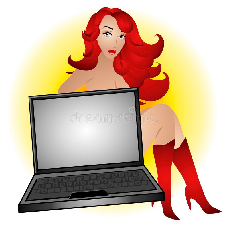 sexig datorgeekredhead vektor illustrationer