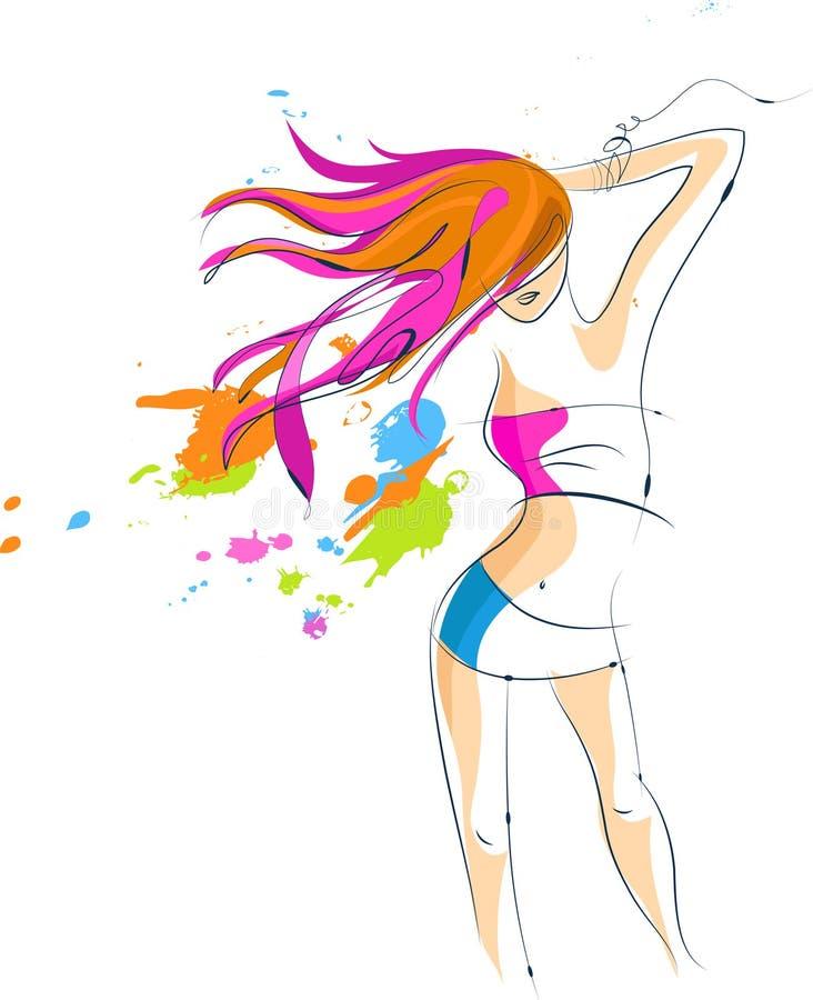 Sexig diskodeltagareflicka - 5 stock illustrationer