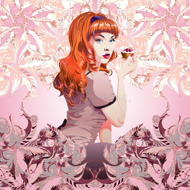 Sexig flicka med den storartade hårinnehavkakan stock illustrationer