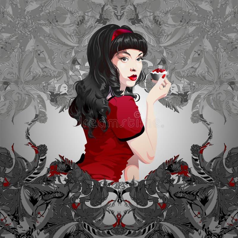 Sexig flicka med innehavkakan för svart hår vektor illustrationer