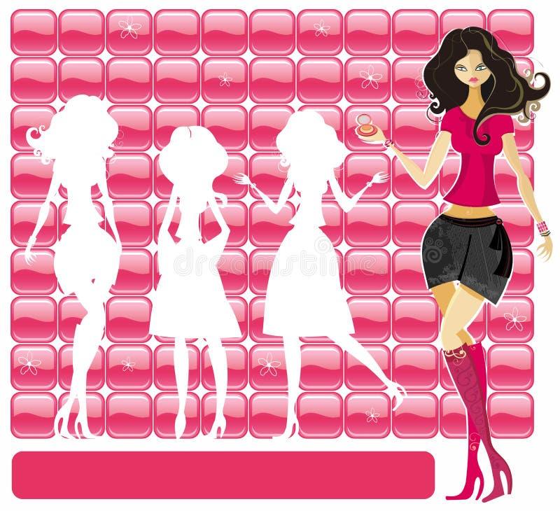 sexig flickadeltagare stock illustrationer