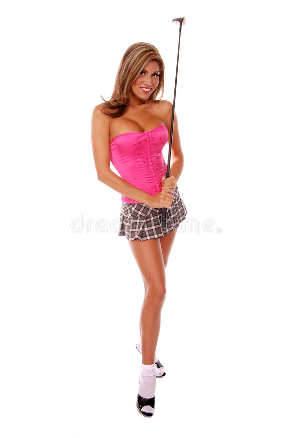 sexig golfare royaltyfri bild