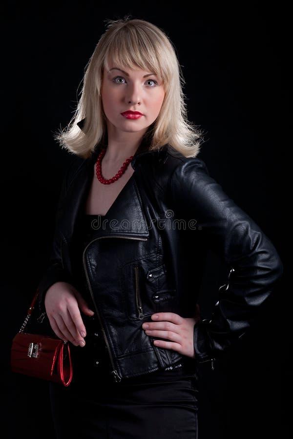 sexig härlig blond mörk flicka för bakgrund royaltyfria bilder
