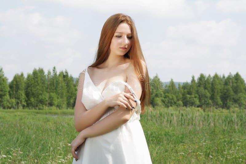 Sexig härlig flicka på fält fotografering för bildbyråer