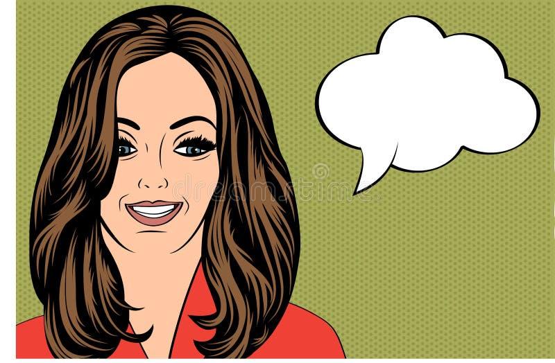 Sexig härlig kvinna med det customizable meddelandet vektor illustrationer