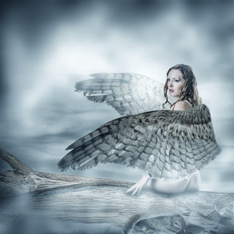 Sexig härlig kvinna med fågelvingar fotografering för bildbyråer