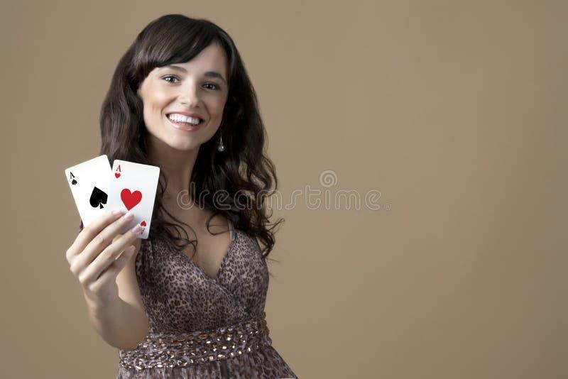 Sexig härlig ung kasinoflicka arkivbild