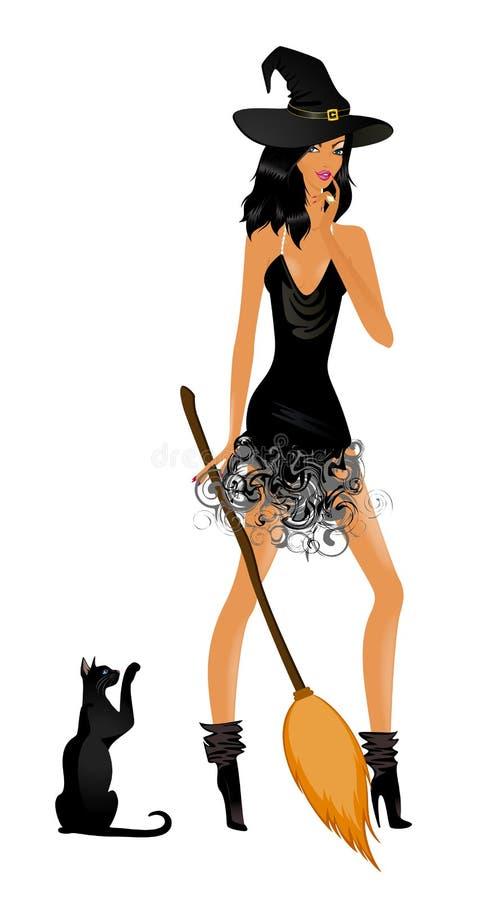 sexig häxa för härlig svart katt royaltyfri illustrationer