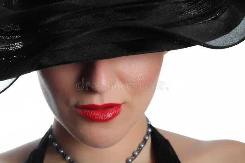 sexig hattlady royaltyfria foton