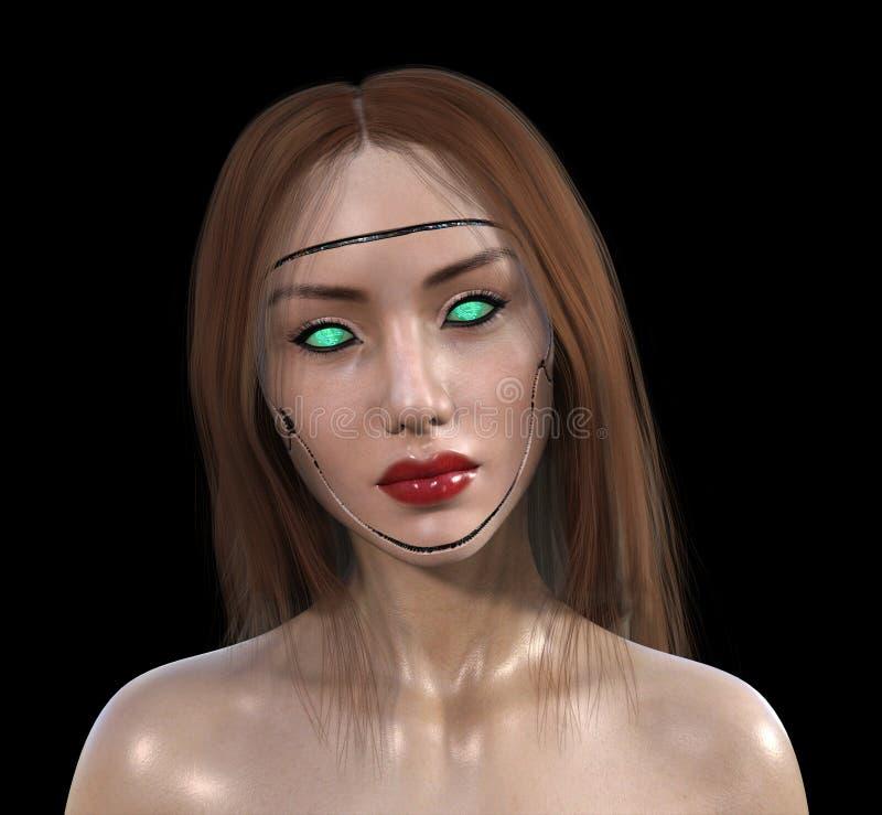 Sexig isolerad Cyborgrobotkvinna royaltyfri foto