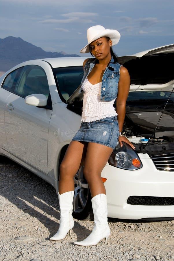 sexig kvinna för bil royaltyfri fotografi