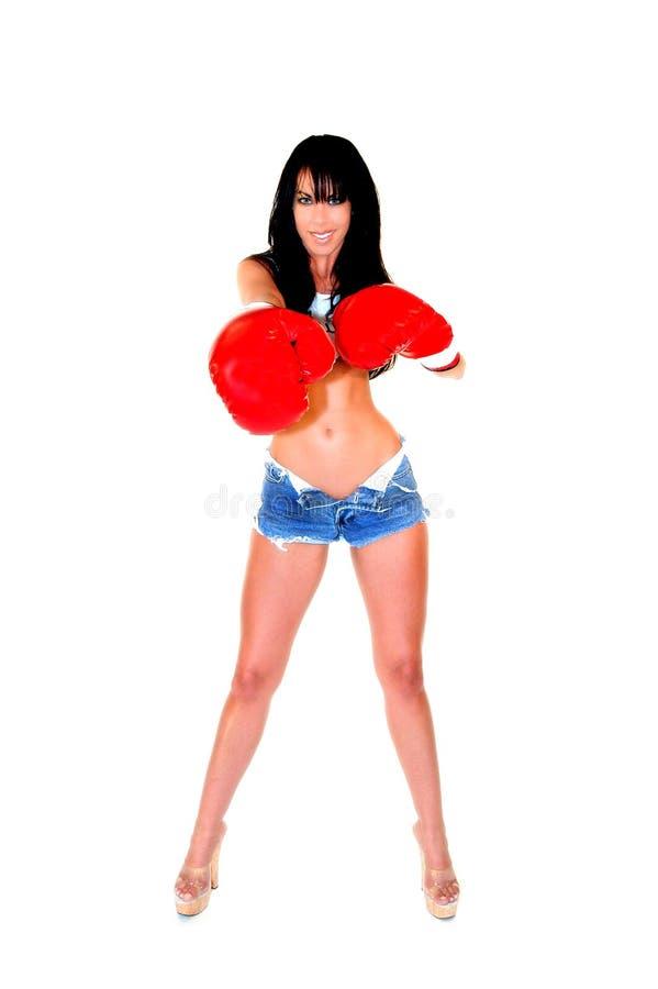 Sexig Kvinna För Boxare Arkivfoto