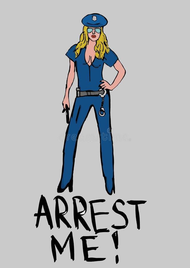 sexig kvinna för polis stock illustrationer