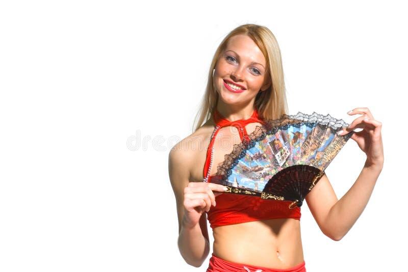 sexig kvinna för ventilator royaltyfri fotografi