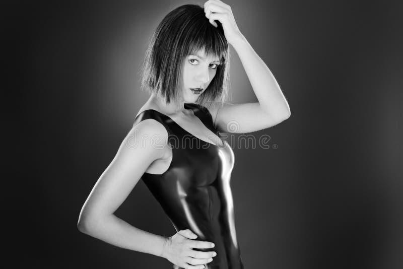 Sexig kvinna i latex royaltyfri bild