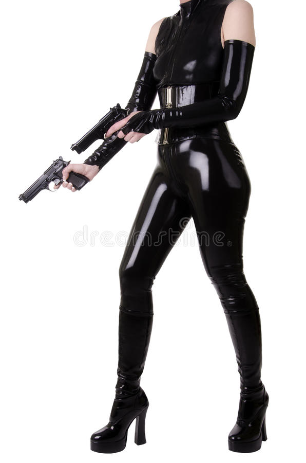 Sexig kvinna med vapen. royaltyfria bilder