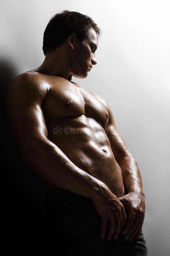 Sexig man royaltyfri foto