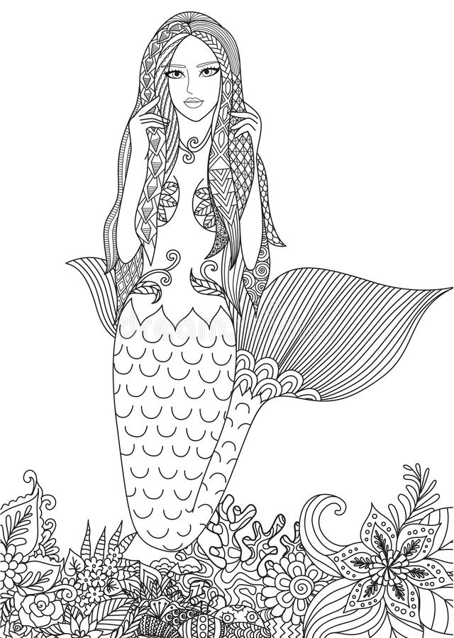 sexig mermaid vektor illustrationer
