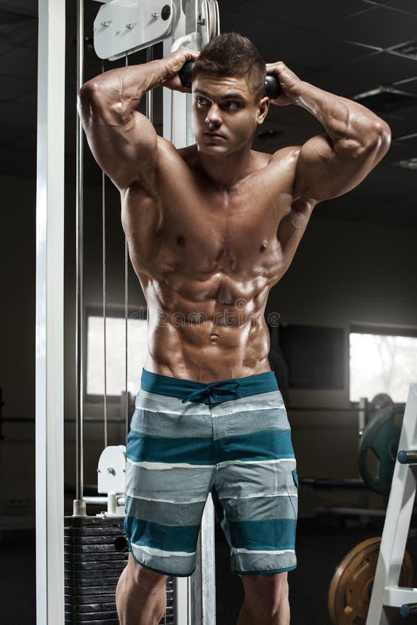 Sexig muskulös man som utarbetar i idrottshallen som gör övningar, stark manlig naken torsoabs royaltyfri fotografi