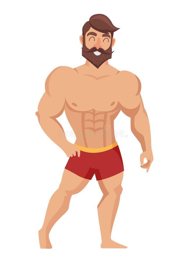 Sexig muskulös skäggig man i röda kortslutningar som poserar bodybuilding också vektor för coreldrawillustration royaltyfri illustrationer